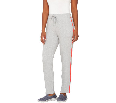 Denim & Co. Active Slim Leg Ankle Pants with Contrast Stripe
