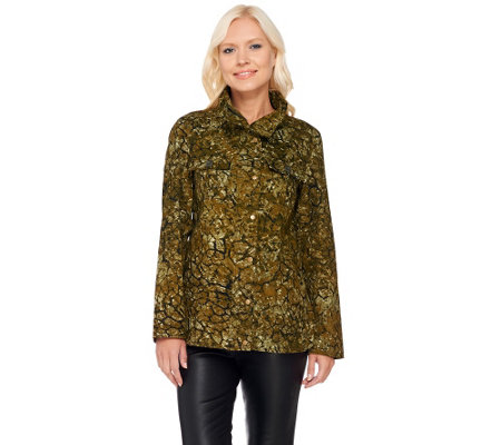 LOGO by Lori Goldstein Cotton Twill Printed Camo Jacket