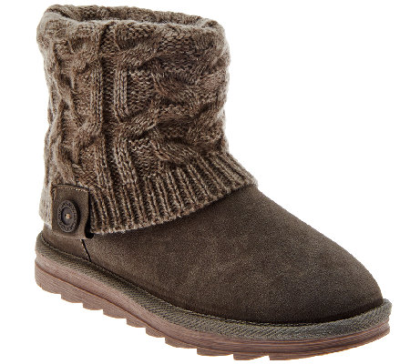 MUK LUKS Flannel-Lined Gored Ankle Boots w/Knit Textured Cuff