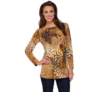 Susan Graver Artisan Printed Liquid Knit Tunic with Embellishment - A269246