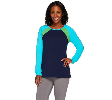 Denim & Co. Active French Terry Color-Block Sweatshirt