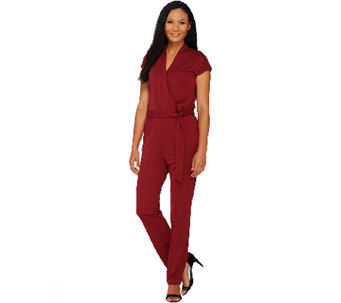 H by Halston Petite Knit Wrap Style Jumpsuit with Tie Waist - A269446