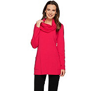 Susan Graver Weekend Brushed Back Knit Tunic with Funnel Scarf - A272146