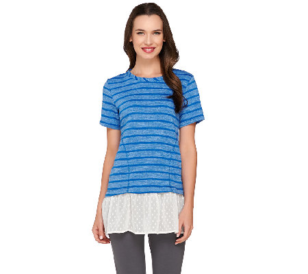 """As Is"" LOGO by Lori Goldstein Striped Short Sleeve Top with Swiss Dot Hem"