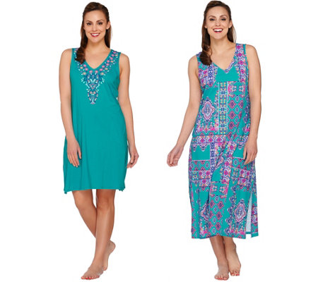 Stan Herman Patchwork Maxi & Shift Lounge Dress Set