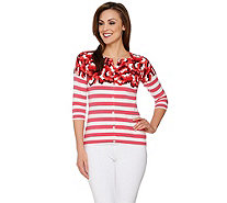 Isaac Mizrahi Live! Engineered Floral Striped Cardigan - A273646