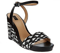 G.I.L.I. Leather & Fabric Espadrille Wedges -Mandie - A274346