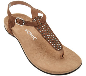 Vionic Orthotic Suede Embellished T-Strap Sandals - Tula - A275646