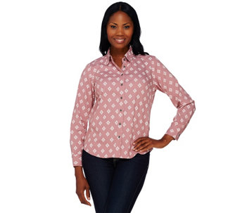 """As Is"" Denim & Co. Printed Stretch Denim Button Front Shirt - A276046"