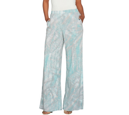 H by Halston Pet Full Length Printed Wide Leg Pants
