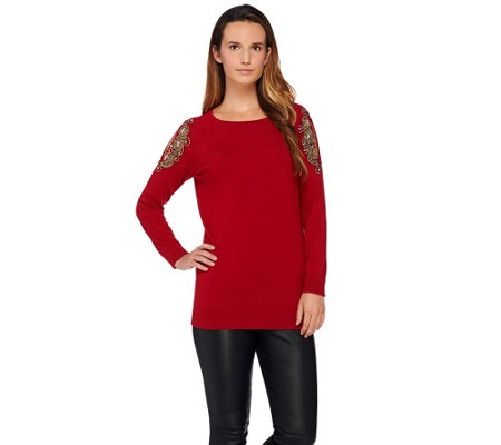 """As Is"" Susan Graver Artisan Embellished Cold Shoulder Sweater"