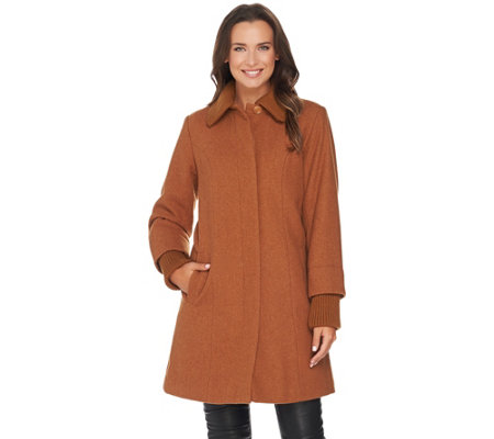 Dennis Basso Wool Blend Coat with Sweater Knit Trim