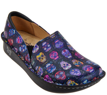 """As Is"" Alegria Leather Printed Slip-on Shoes - Debra Pro"