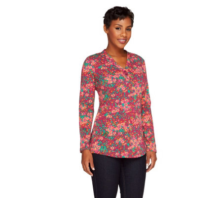 """As Is"" Liz Claiborne New York Long Sleeve Fiesta Floral T-shirt"