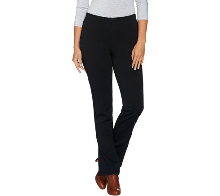 Women with Control Petite Pull-On Ponte di Roma Slim Bell Pants