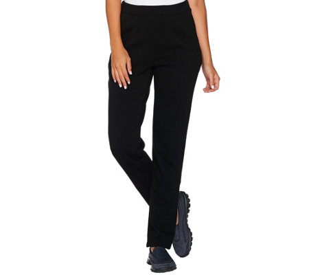 Denim & Co. Active _Petite Slim_Leg Full Length Pant w/ Pockets