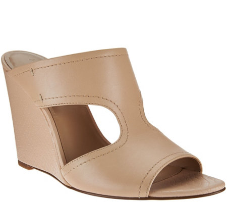 """As Is"" H by Halston Open- Toe Cut-Out Leather Mules - Holly"