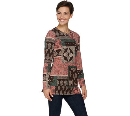 Denim & Co. Long Sleeve Round Neck Printed Tunic
