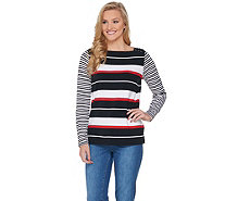 Susan Graver Weekend Striped Cotton Modal Top with Lacing - A285446