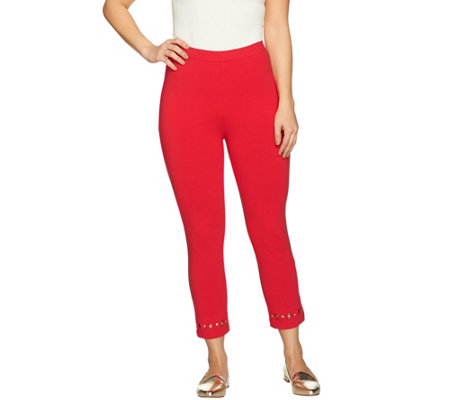 Susan Graver Weekend Cotton Spandex Crop Leggings with Grommets