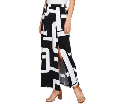 """As Is"" Susan Graver Petite Printed Liquid Knit Six Gore Maxi Skirt Slit"