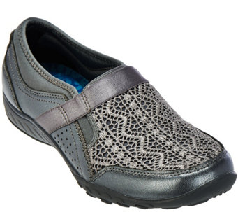 """As Is""Skechers Breathe-Easy Crochet Leather Slip-ons - Clean Sweep - A288346"