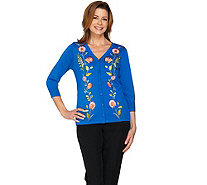 Bob Mackie's Embroidered Button Front Sweater Knit Cardigan - A288446