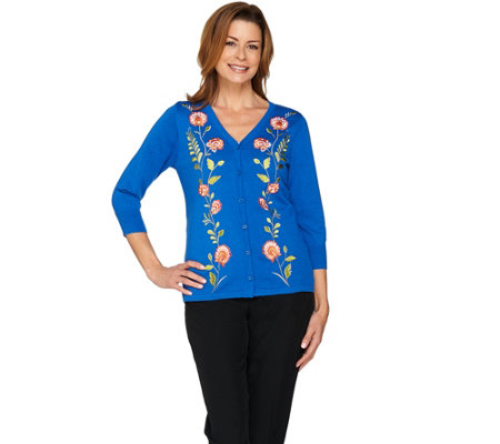 Bob Mackie's Embroidered Button Front Sweater Knit Cardigan