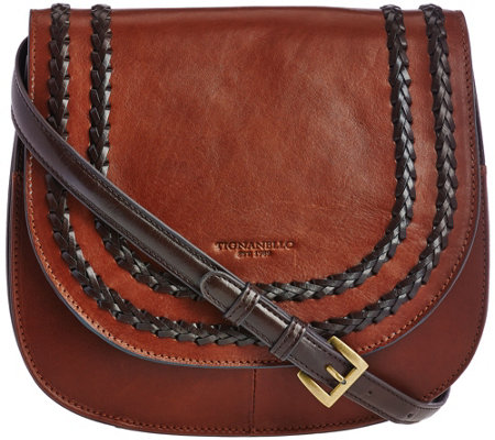 """As Is"" Tignanello Vintage Leather RFID Saddle_Bag"