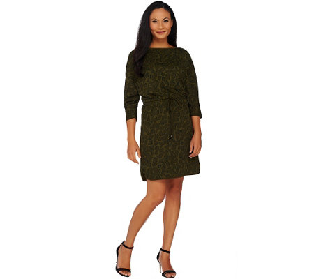 """As Is"" H by Halston Printed Dolman Sleeve Knit Dress with Drawstring"