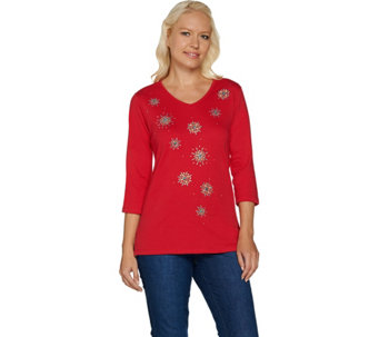 """As Is"" Quacker Factory Dazzling Bursts 3/4 Sleeve T-shirt - A290346"