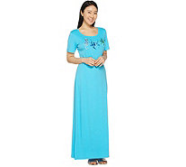 Quacker Factory Petite Embroidered Short Sleeve Knit Maxi Dress - A290946