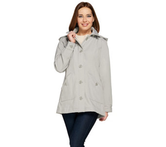 """As Is"" Issac Mizrahi Live! Soft Shell Jacket w/ Detachable Hood - A291146"