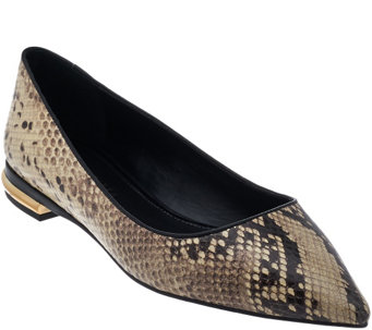 """As Is"" Judith Ripka Textured Leather Slip-on Flats - Robin - A291446"