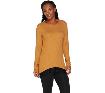 """As Is"" LOGO by Lori Goldstein Waffle Knit Top with Lace Trim - A292846"