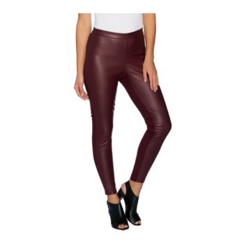H by Halston Regular Faux Stretch Leather and Ponte Leggings