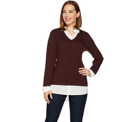 """As Is"" Kelly by Clinton Kelly Mock-Layer V-Neck Sweater"