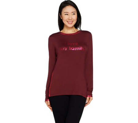 Peace Love World Long Sleeve Knit Top with Foil Print Affirmation