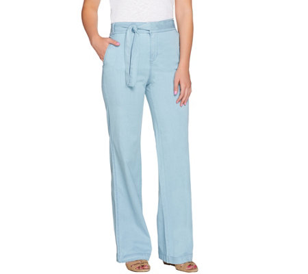 """As Is"" H by Halston Petite Stretch Chambray Wide Leg Pants"