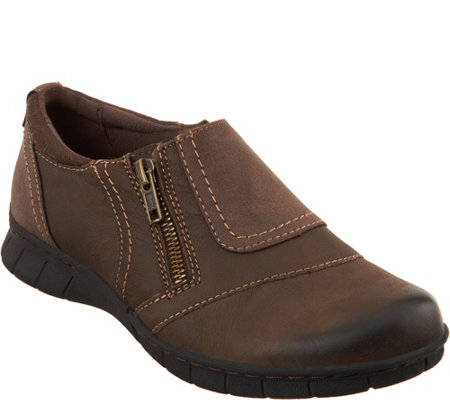 Earth Origins Leather Slip-on Shoes w/ Side Zip - Nila