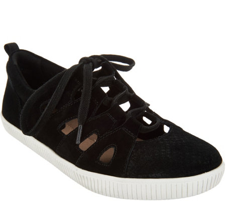 Earth Suede and Cut-Out Leather Lace-Up Sneaker - Mulberry