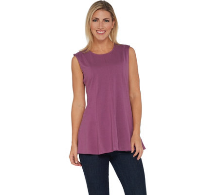 Denim & Co. Essentials Sleeveless Fit and Flare Knit Tunic