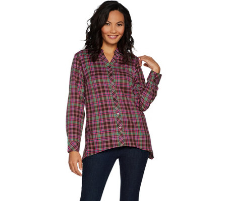 """As Is"" Denim & Co. Plaid Button Front Long Sleeve Trapeze Hem Top"