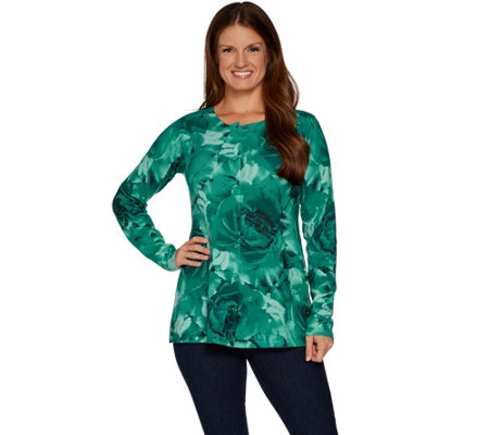 """As Is"" Isaac Mizrahi Live! Exploded Rose Printed Peplum Cardigan"