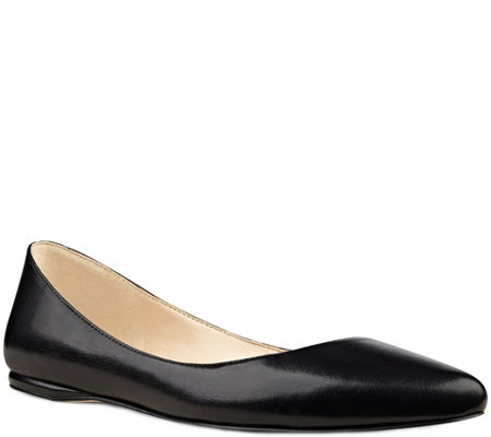 Nine West Pointed Toe Leather Flats - Speakup
