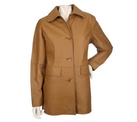 Centigrade Washable Leather Coat w/ Thermolite Zip Out Lining