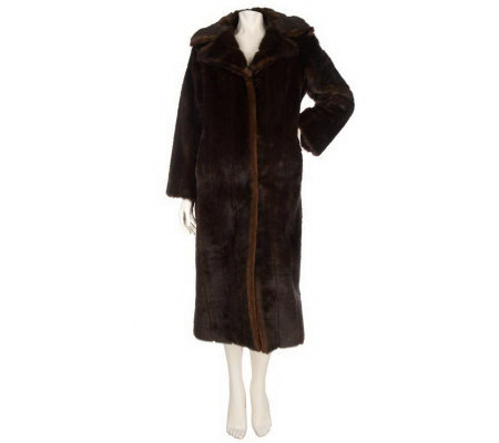 Dennis Basso Petite Full Length Faux Fur Coat Notch Collar