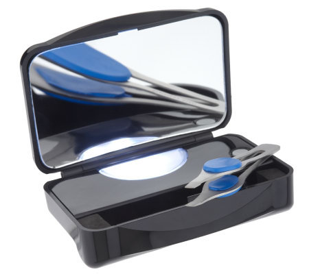 Floxite Lighted 10x Magnification Mirror Case W Tweezers
