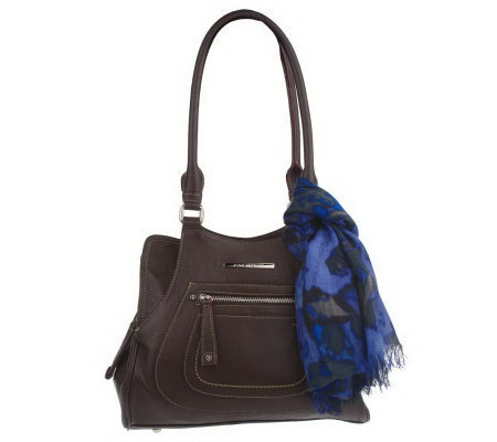 Isaac Mizrahi Live! Pebble Leather Shopper with Scarf