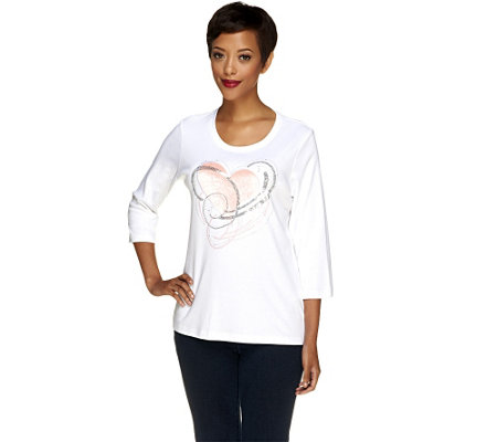 Quacker Factory Spiral Hearts 3/4 Sleeve T-Shirt